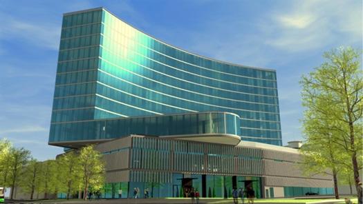 Новое 13-этажное здание гостинично-развлекательного комплекса по проекту архитектора Меэлиса Пресса. Фото: OMG.